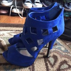 Blue heels Size 7 royal blue heels. Worn once!! Perfect condition  Charlotte Russe Shoes Heels