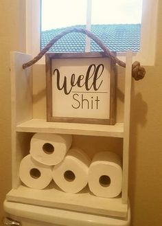 Well SHIT Little bathroom humor for you and/or your guests. Can also be used in other area around your home! Each piece of wood is unique and one of a kind, so no two signs will look the same! Bathroom Humor, Bathroom Ideas, Bathroom Mirrors, Bathroom Faucets, Funny Bathroom Decor, Wooden Bathroom, Signs For Kitchen, Farmhouse Decor Bathroom, Bathroom Signs Funny