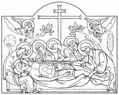 Entombment of Christ, pen and ink, by Scott Patrick O'Rourke Transfiguration Of Jesus, Modern Books, Pattern Coloring Pages, Orthodox Icons, Christian Art, Religious Art, Painting Lessons, Line Drawing, Painting Inspiration