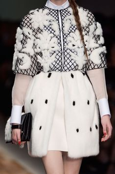 Monochrome dress coat with fluffy embellishments; chic fashion details // Valentino Fall 2013