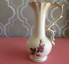Vintage Pitcher Vase w/ Gold Rim - Floral Design - Nice Handle Made in Japan