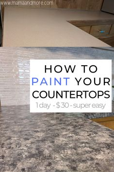 Kitchen Projects Painting your counters is a super cheap, super easy, and surprisingly durable! Cheap Kitchen Countertops, Painting Kitchen Countertops, Countertop Makeover, Spray Paint Countertops, Faux Granite Countertops, Granite Paint, Granite Kitchen, Kitchen Islands, Kitchen Redo