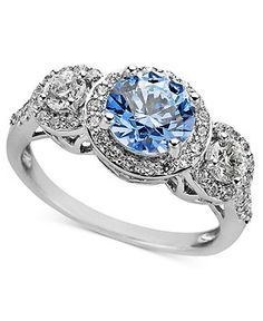 Arabella Sterling Silver Ring, Blue and White Swarovski Zirconia Three Stone Ring (3-1/3 ct. t.w.) - Rings - Jewelry & Watches - Macy's
