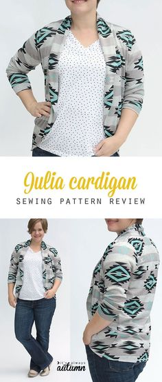 Sewing Blusas - how to sew a pretty navajo tribal knit cardigan sweater using the Mouse House Julia cardigan sewing pattern. Sewing Patterns Free, Clothing Patterns, Knitting Patterns, Knitting Tutorials, Shawl Patterns, Vogue Patterns, Loom Knitting, Vintage Patterns, Free Knitting