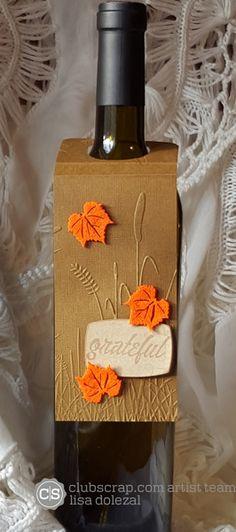 Rockin Paper Scissors and Glue: Thankful Blog Hop #clubscrap Wine bottle tag by Lisa Dolezal