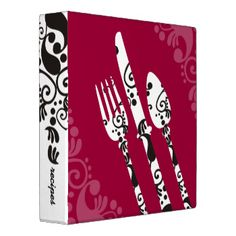 Updated decorative fork, knife and spoon recipe binder, cookbook binder, food, cooking or catering portfolio for chefs, cooks, personal chefs, caterer or catering, cooking classes, cooking lessons, gourmet shop, kitchen store, or other food, cooking, or culinary service. Change the background color in the 'customize' section, then under 'edit', then 'background'. #utensils #fork #chef #cooking #culinary #food #recipe #binder #cookbook #binder #chef #portfolio #catering #portfolio #knife ...