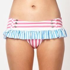 Floozie by Frost French Designer pink stripe patterned wide bikini bottoms- at Debenhams Mobile