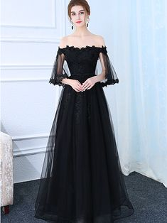 Suitable Prom Dresses Long, 2018 A-line Princess Straight Neck Half Sleeve Floor Length Prom Dresses Sexy Half Sleeve Dresses A Line Split Front Appliques Prom Dress, Long Evening Dress Beautiful Long Dresses, Pretty Dresses, Prom Dresses With Sleeves, Homecoming Dresses, Maxi Dresses, Denim Dresses, Sleeve Dresses, Black Wedding Dresses, Formal Dresses