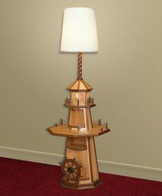 Oak Lighthouse Floor Lamp w/ Magazine Rack