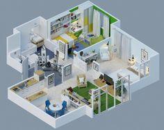 canho3d07 Căn hộ nhỏ và những thiết kế 3D linh hoạt