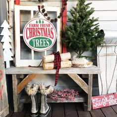 Classic Christmas Front Porch bench logs mini tree berries window