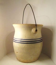 Stoneware crock with blue stripes and bail - I love anything with a bail handle.