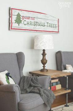DIY rustic fresh cut Christmas trees sign - thegoldensycamore.com