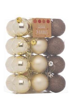 Primark - 24 bolas de Navidad en tonos bronce