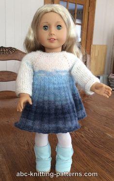 ABC Knitting Patterns - American Girl Doll Pleated Skirt Dress