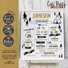 INSTANT DOWNLOAD, EDITABLE Wild One First Birthday Chalkboard Sign, 1st Birthday Printable Sign, King of All things, Wild one milestone sign Wild One Birthday Invitations, Wild One Birthday Party, First Birthday Parties, First Birthdays, First Birthday Chalkboard, Sunshine Birthday, Birthday Template, Chalkboard Signs, Sign Printing