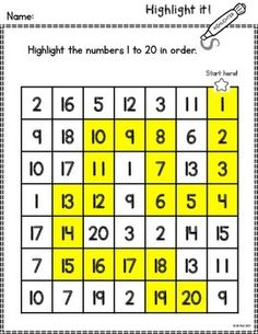Make learning numbers fun and engaging with this set of worksheets. Students will use highlighters to identify and count numbers 1-20.