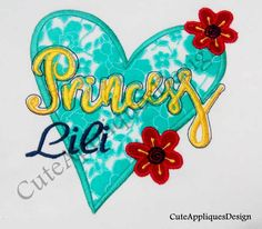 Princess & heart Digital Embroidery Design No 1152 by CuteAppliquesDesign on Etsy