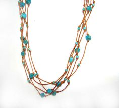 Multi String Howlite & Natural Leather Neckase by EffElArtions, €16.00