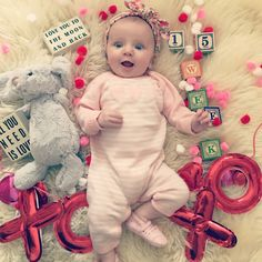 Simply Kimberly | Baby Milestone | Milestone Pictures | Weekly Baby Pictures | Watch Me Grow | Baby | Valentine's Day | Valentine's Day Baby
