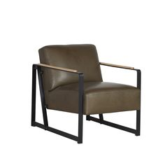 Fauteuil Nox with steel frame and leather upholstery. Wooden inlays on the steel armrests.