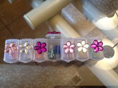 easy to make!  cute idea for teen...add to a nail decor basket... put little nail jewels inside a vitamin plastic pill holder box... hot glue jewels to top to cover the S<M