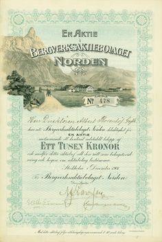 Bergverksaktiebolaget Norden, Stockholm, December 1901, Share of 1,000 Crowns, #478, 35.2 x 23.5 cm, green, ocher, black, DB, coupons, superb vignette.