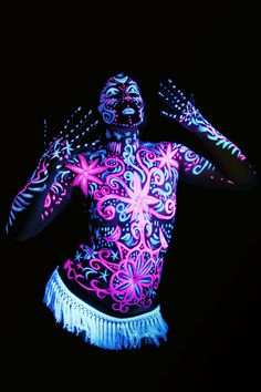 Ultra-violet body art! Neon Make-Up sold by Midnight Party - lots of colours available! #neonbodypaint