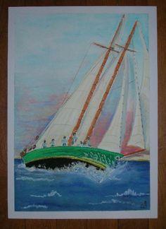 « Régate », pastels, bateau, vague