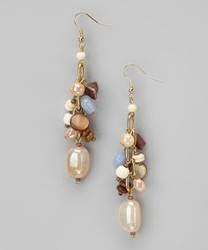 Take a look at this Blue & Brown Glass Wood Cluster Earrings by Majestic on #zulily today!