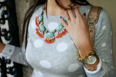polka dot sweater and j.crew fringe necklace