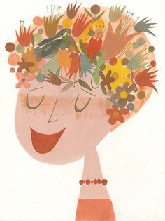 Un chapeau de fleurs.   Édition limitée 8.5x11 par matteart sur Etsy, $35.00