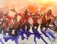 Russkaja Concert Watercolour, Concert, Musik, Pen And Wash, Watercolor Painting, Watercolor, Concerts, Watercolors, Watercolour Paintings