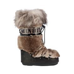 Moon Boot&jimmy Choo  Mb Classic Lapin & Fox Fur Boots ($1,965) ❤ liked on Polyvore featuring shoes, boots, natural, laced up boots, lace up boots, rubber sole shoes, lacing boots and lace up shoes