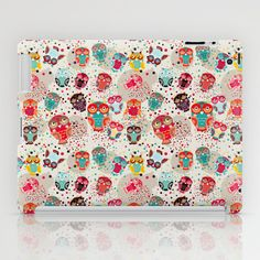 pattern with colorful owls on cream background iPad Case by EkaterinaP - $60.00