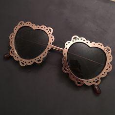 Doily heart sunglasses TRENDY cute heart sunglasses. Love these. Gold frames PacSun Accessories Sunglasses
