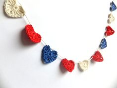 CIJ SALE Hearts cake topper, crocheted garland, Independence day, 4th of July decorations, Wedding ornaments white, red, blue. $9.00, via Etsy.