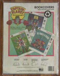 Captain Planet Planeteers 1990 Vintage Set of 3 Book Covers. NEW & UNOPENED…