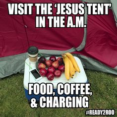 Bonnaroo Tip: The 'Jesus Tent' is a good place to get breakfast. There's free water, fruit, snacks, coffee, and phone chargers. #Ready2Roo