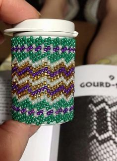 Gourd stitch - peyote and gourd are NOT The same stitch although they are both called peyote   Gourd is done in a series of 3 not a 3 drop as some think. It is also always done in tubular. If you look at the pic the gourd stitch makes a diagonal pattern as you bead.