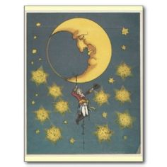 Vintage Man Hanging From the Moon Post Card