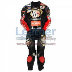 Manuel Poggiali Aprilia GP 2003 Leather Suit for $629.30 - https://www.leathercollection.com/en-we/manuel-poggiali-aprilia-2003-leather-suit.html