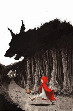 Red Riding Hood on the way to Grandma's house.  Pek Güzel Şeyler: Graham Franciose.  (red riding hood cap, fairy tale, fantasy)