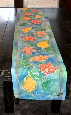 Prairie Mother: Thanksgiving Batik Table Runner (without wax).  http://prairiemother-prairiemother.blogspot.com/2010/11/thanksgiving-batik-table-runner-without.html