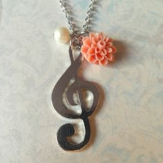GClef Music Charm Necklace with Peach Flower and Pearl  by Beadix, $8.50