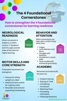 What every child needs to establish learning readiness. #ilslearningcorner #learningreadiness #brainbuildingactivities #grossmotor #foundationalskills #learningdelays #bilateralcoordination #teachers #parentresources #OTresources #balancekids #coordinationkids #howkidslearn #childdevelopment #learningstrategies #midlinecrossing  #attentionkids #ADHD #sensorykids #exerciseskids #focuskids #movementkids #purposefulmovement #brainbuilding #brainbreaks #occupationalterapists #integratedmovement Emotional Development, Language Development, Child Development, Learning Tips, Kids Learning, Movement Activities, Sensory Activities, Learning Disabilities, Multiple Disabilities