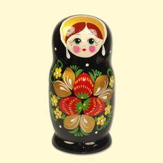 "SHOP-PARADISE.COM:  Matrjoschka ""Erdbeere"" schwarz (M5), ca. 15 cm 21,00 €"