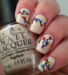 Unhas de luz de Natal -  /    Christmas Light Nails -