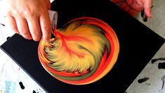 (460) Tree of fire ~ SPLIT CUP acrylic pour painting ~ Spin art ~ Straig...