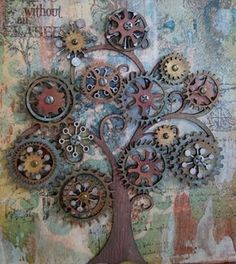 garden art from junk | cog art repinned from garden art by carol samsel